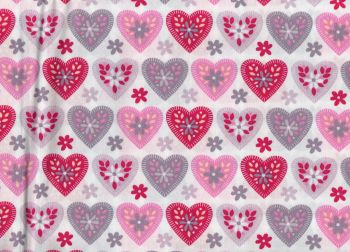 Pink and Grey Hearts, White Background