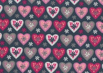 Pink and Grey Hearts, Grey Background