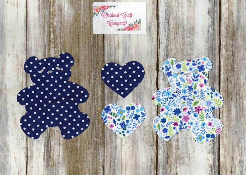 Fabric Iron On Teddy Bears, Dotty/Floral