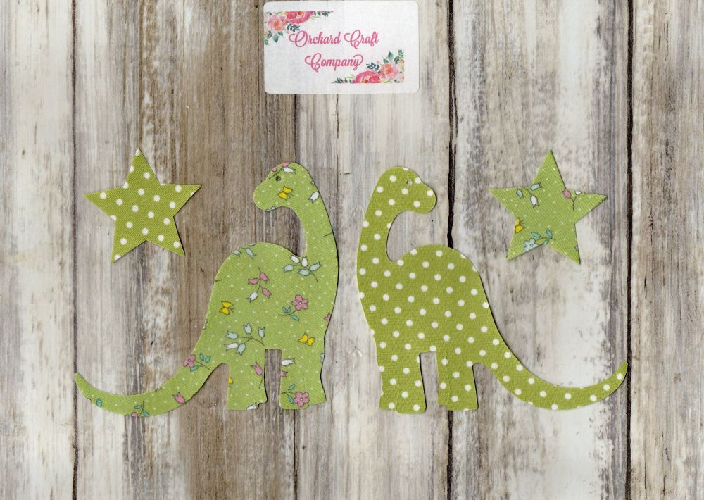 Fabric Iron On Dinosaurs  Diplodocus  in Floral/Dotty iron on Fabric