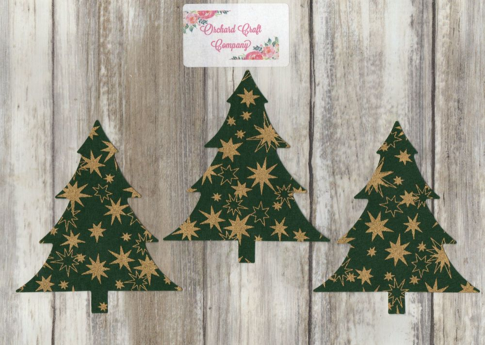CHRISTMAS TREES - Set of 3 Fabric Iron On Trees