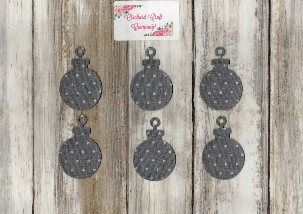6 iron on fabric Christmas Baubles.