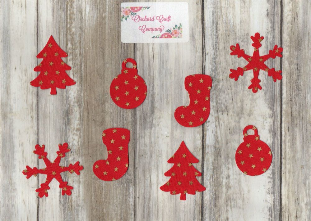 iron on fabric small Christmas shapes collection x 8