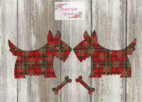 2 Large Iron On Fabric Christmas Scotty/Westie Dogs