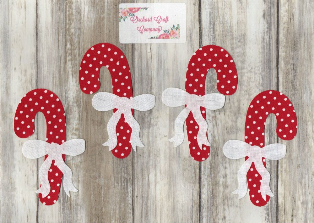 Fabric Iron on Candy Canes x 4