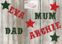 Iron on Fabric Christmas Letters 3cm Vintage letters/numbers, Set of 10
