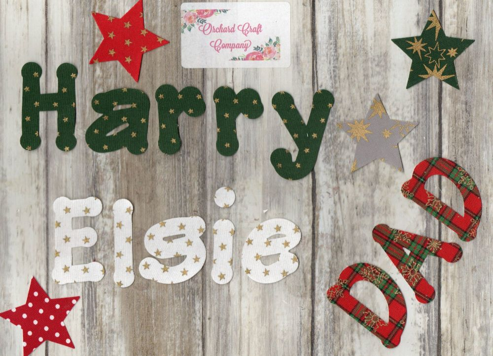Christmas letters, Iron on Fabric  4-5 cm Christmas Colours set of 7