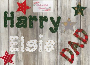 Iron on Fabric Christmas letters, 4-5 cm, Set of 7