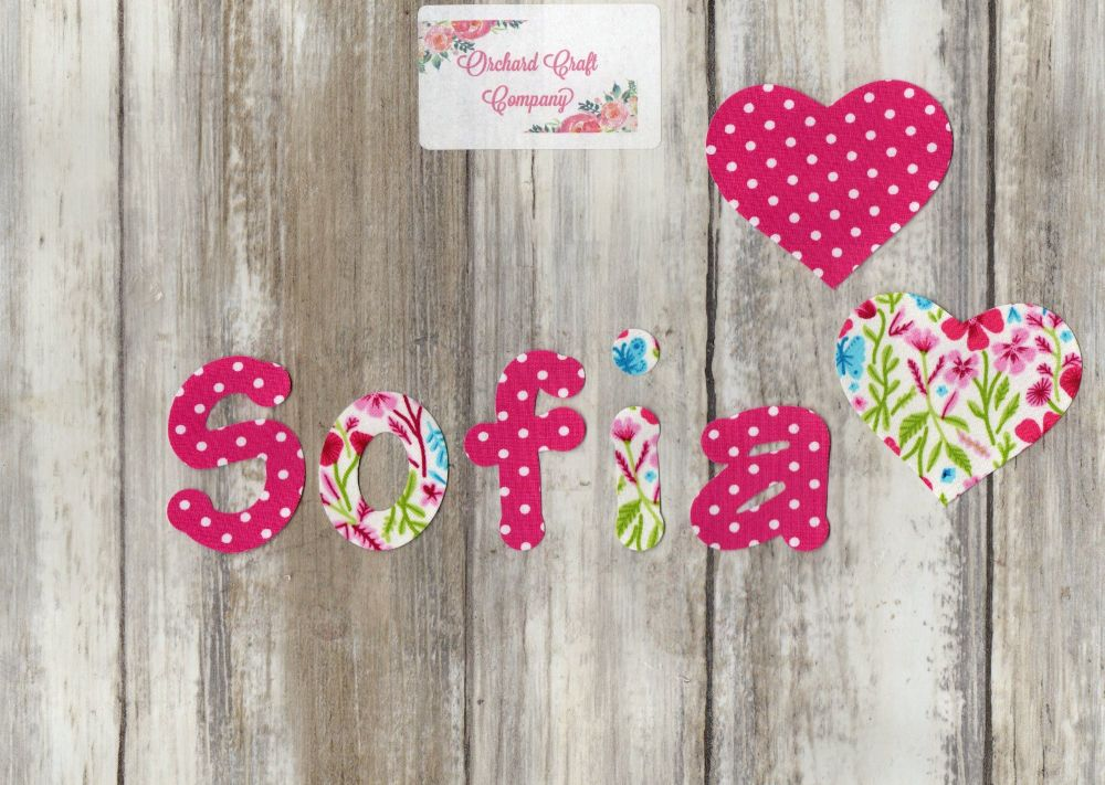 Iron On Fabric Applique Letters/Numbers set of 7 Floral/Dotty Size 4-5cm hi