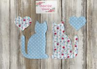 Fabric Iron On Cats,Dotty/Floral