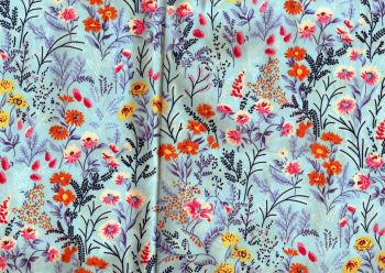 Floral fabric, Blue with orange,pink,yellow flowers