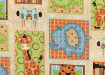 Cute Nursery Animals, 100% cotton fabric