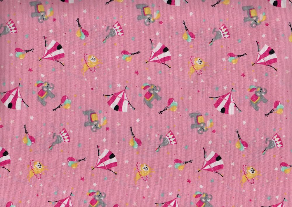 Pink background with Circus design , 100% Cotton Fabric