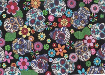 Skulls and flowers 100% cotton fabric