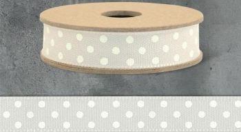 3 Metre East of India Ribbon,Beige and Cream Polka Dot