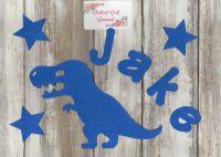 Fabric Iron on Dinosaur, T Rex  and name set (No Sew)