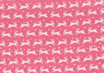 100% Cotton Fabric, White Rabbits on pink background