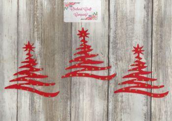 Modern Christmas Trees - Set of 3 Fabric Iron On Trees