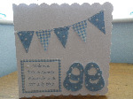 Cath Kidston Baby Shoes/Bunting - Personalised Sewn New Baby Card Boy or Girl