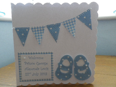 Cath Kidston Baby Shoes/Bunting - Personalised Sewn New Baby Card Boy or Gi