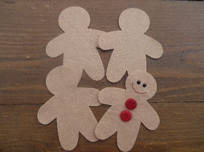 4 Christmas Gingerbread Men in Quality Felt