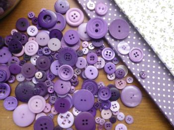 Mixed PURPLE & LILAC BUTTONS - 75g