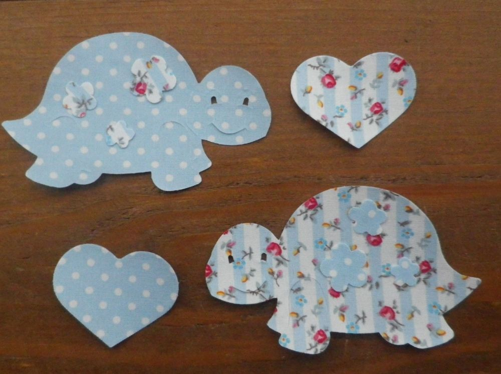 Fabric Iron On TORTOISES x 2 with matching HEARTS