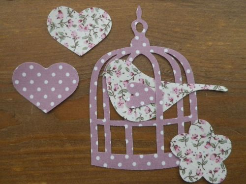 BIRDCAGE & BIRD in dotty/floral shabby chic IRON ON FABRIC