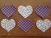 Set of 6 Floral/Dotty Fabric Iron On Hearts