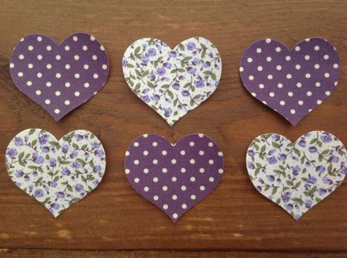 Set of 6 SHABBY CHIC Floral/Dotty Fabric Iron On Hearts