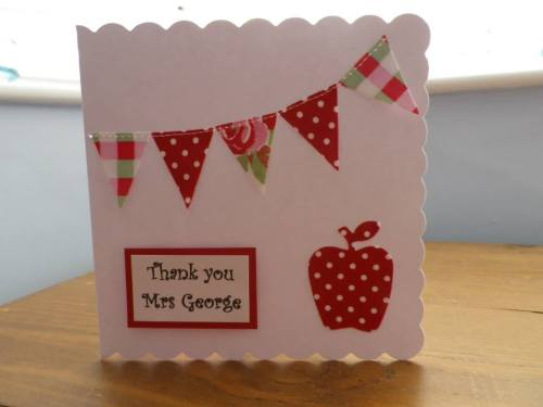 Cath Kidston Fabric Handmade Sewn Square Card - Thank you Teacher - Persona