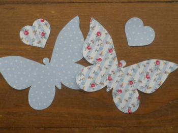 2 Iron On BUTTERFLIES in Shabby Chic Floral/Dotty Fabric