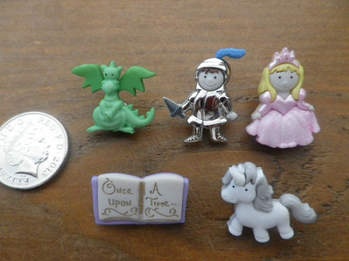 Dress It Up Buttons - ONCE UPON A TIME Princess Dragon Fairytale Knight Uni