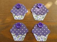 4 CUPCAKE Appliques with buttons.Shabby Chic Floral/Dotty. Iron On Fabric