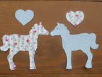 HORSES, PONIES x 2 with Hearts Floral/Dotty Iron On fabric Appliques