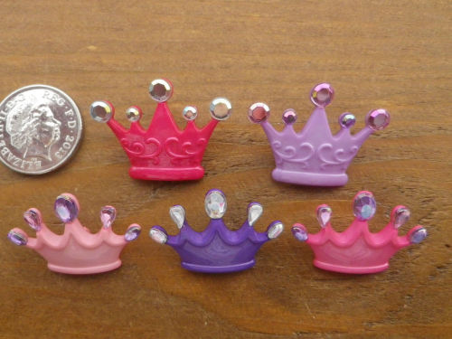 Dress It Up Buttons - PRINCESS CROWNS - Pink, Lilac Purple
