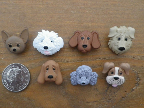 Dress It Up Buttons - Fuzzy Faces - CUTE DOGS