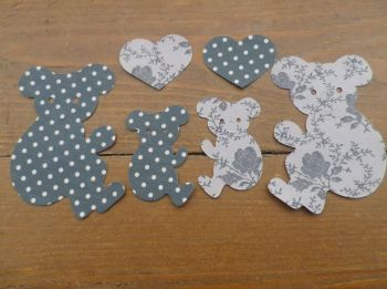 4 Floral/Dotty Fabric Iron On Koala Bears with hearts