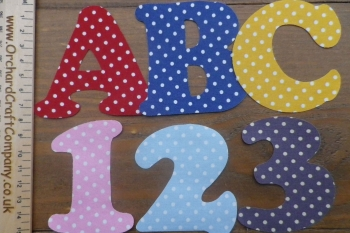 Iron On Fabric Uppercase Letters and Numbers 7.5 cm (3 Inch ) White Polka Dot