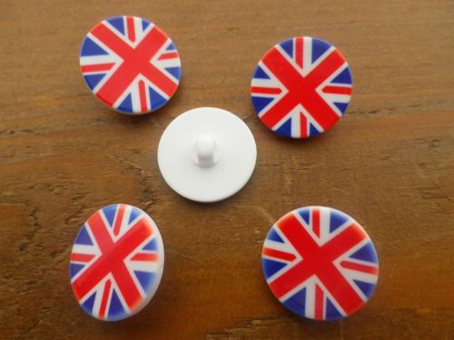 5 Union Jack Buttons 23 mm with Shanks