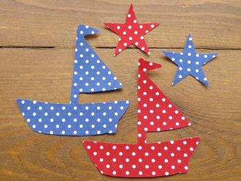 A Set of 2  Iron On Applique Fabric Boats Red/Blue with Stars