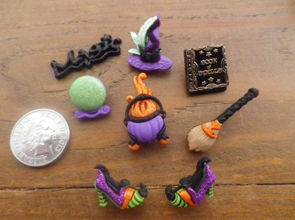 Witch's Spell Halloween Buttons.