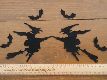 Halloween Witches,  Black Self adhesive X 2 and 4 Bats