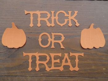 Trick or Treat, 3 cm Iron on, No sew, with pumpkins