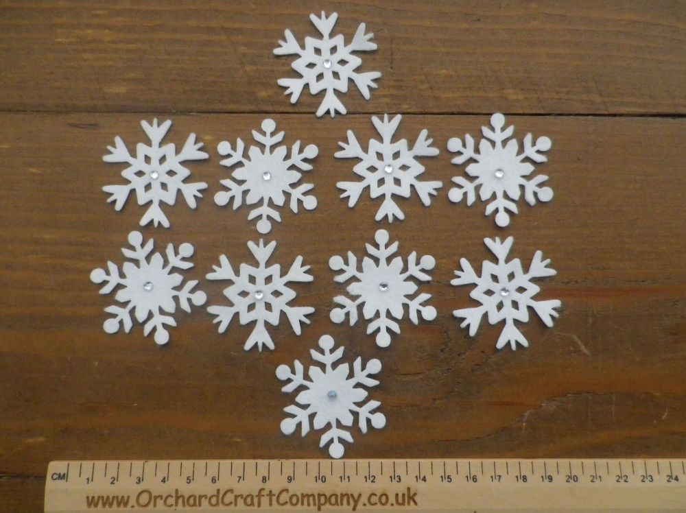 10 Self Adhesive Pretty White Felt Snowflakes and gems