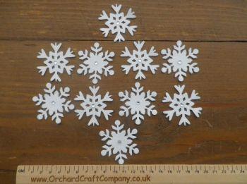 10 Self Adhesive Pretty Felt Snowflakes and gems