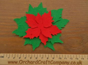 Tattered Christmas Poinsettia x 2, In Red and Green Felt