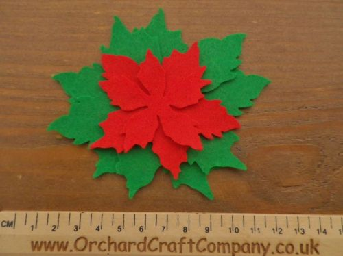 Tattered Christmas Poinsettia, In Red and Green