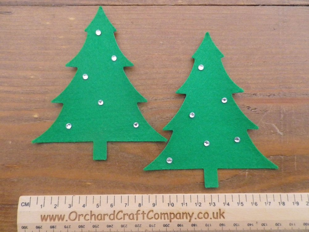 Self Adhesive Felt Christmas Trees x 4 with Gems.