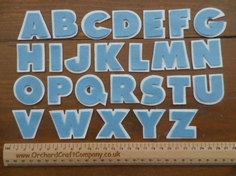 Double Chunky Full Alphabet Felt Letters. Baby Blue and White